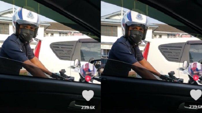 Seorang pengguna TikTok membagikan momen dirinya ditegur oleh polisi karena mengemudikan mobil sambil main ponsel.