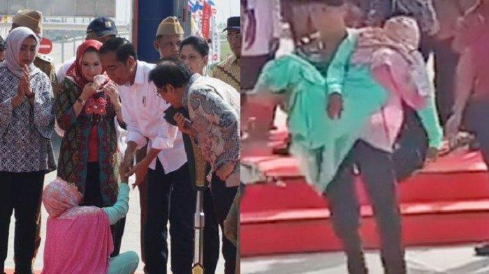 Foto & Video Ibu-ibu di Lampung Mendadak Pingsan di Kaki Jokowi, Reaksi Presiden Jadi Sorotan