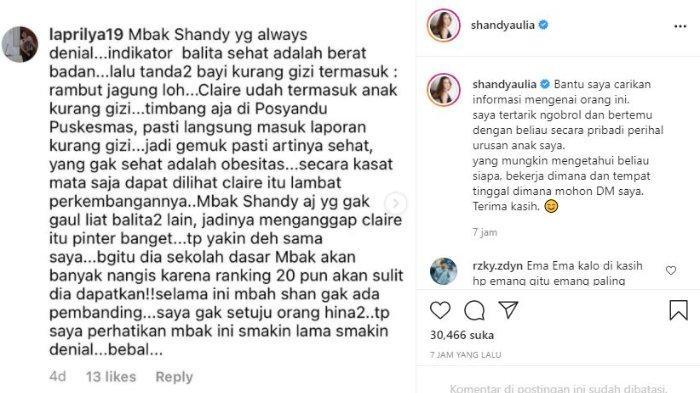 Shandy Aulia geram putrinya dapat komentar jahat warganet.