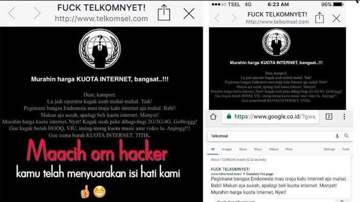 Gara-gara Tarif Mahal Website Telkomsel Di-hack, Begini Tulisan Kocak Si Hacker!