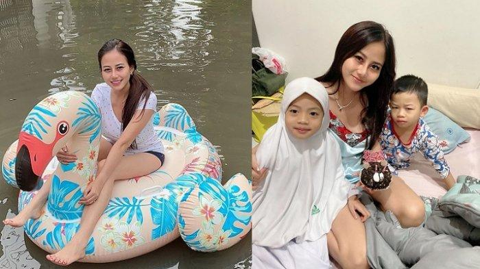 Viral Wanita Naik Ban Bebek saat Banjir Jakarta, Ternyata Model & Ibu Tunggal 2 Anak