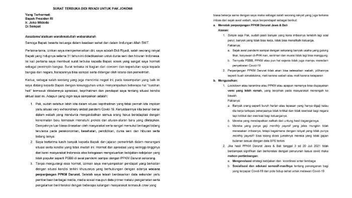 Surat terbuka Didi Riyadi untuk Presiden Jokowi.