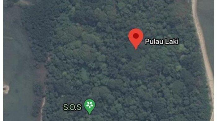 Tangkapan layar Google Maps, tanda SOS muncul di Pulau Laki.
