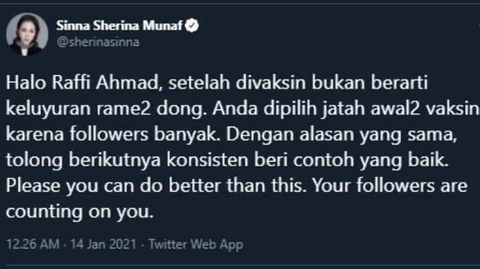 Teguran Sherina Munaf untuk Raffi Ahmad