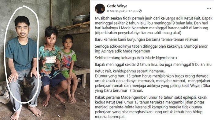Ni Komang Desi (16), I Ketut Pait (13), serta adiknya Wayan Dika (6) yang merupakan tiga kakak beradik yatim piatu di Karangasem, Bali.