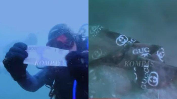 Kolase foto tim SAR penyelam menemukan uang tunai dan pakaian yang diduga milik korban jatuhnya pesawat Sriwijaya Air SJ 182, Selasa (12/1/2021).