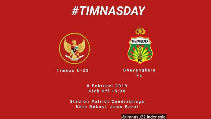 Link Live Streaming PSSI.org Timnas Indonesia U-22 vs Bhayangkara FC Rabu 6 Februari 2019