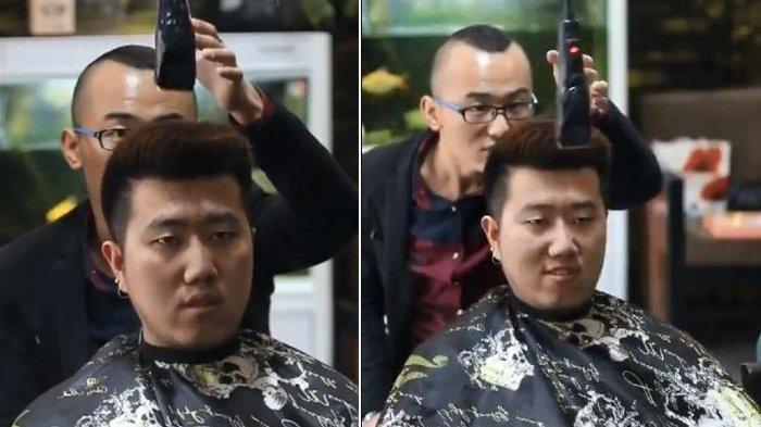 Beredar Video Viral Tukang Cukur Potong Rambut Seorang Pria dengan Cara Unik, Endingnya Bikin Ngakak