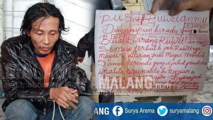 MUTILASI - Polisi menunjukan tulisan yang ditemukan di dekat potongan tubuh korban mutilasi di Lantai 2 Pasar Besar, Kota Malang, Selasa (14/5/2019). Pada lokasi penemuan bagian tubuh korban mutilasi yang berjenis kelamin perempuan itu ditemukan sejumlah tulisan.