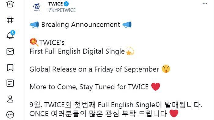 TWICE akan rilis lagu berbahasa inggris.