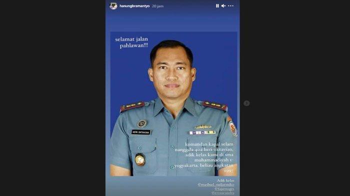 Ucapan duka Hanung Bramantyo untuk letkol Letkol Heri Oktavian.