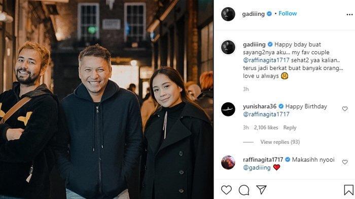 Ucapan Yuni Shara untuk Raffi dan Nagita yang ultah di Instagram Gading Marten