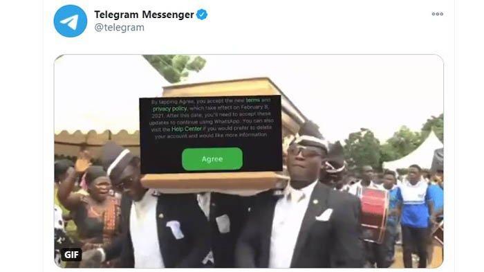 Unggahan meme peti mati di akun Twitter @Telegram yang ditunjukan kepada WhatsApp, (Twitter @Telegram)