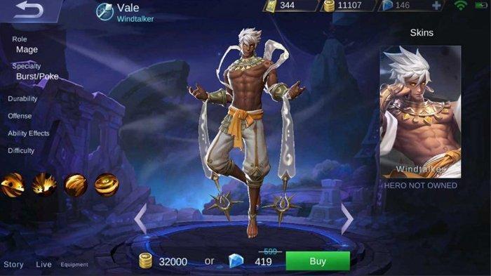 Vale Hero - Si Pengendali Angin di Mobile Legends dengan Skill Dewa Segera Rilis, Intip Tutorialnya