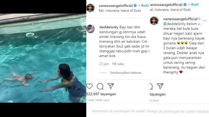 Vanessa Angel saat mengajari baby Gala berenang