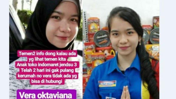 Vera bekerja sebagai kasir Indomaret di Jalan Jenderal Sudirman 3 Palembang dilaporkan hilang sejak 3 hari lalu