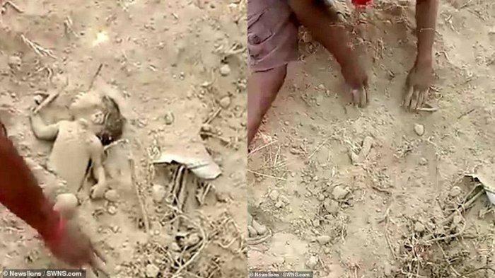 VIRAL Video Warga Keluarkan Bayi yang Dikubur Hidup-hidup, Berawal dari Mendengar Suara Rintihan