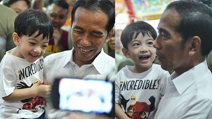 Foto-foto Jan Ethes Bermain Ditemani Jokowi di Mal, Merasa Kangen 3 Bulan Tak Bertemu Mbah