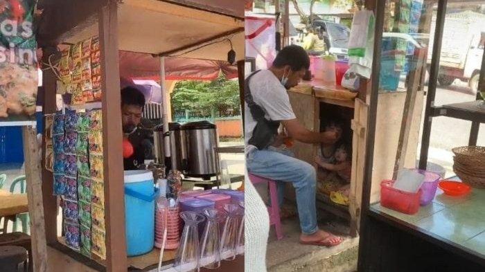 VIRAL VIDEO Haru Penjual Es Suapi Dua Anaknya di Dalam Gerobak Dagangan, Ini Cerita Pengunggah