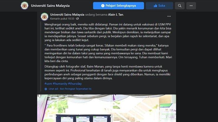 Unggahan Universitas Sains Malaysia viral tentang bapak-bapak vaksinasi Covid-19 memakai kantong plastik di kepala, Kamis (8/7/2021).