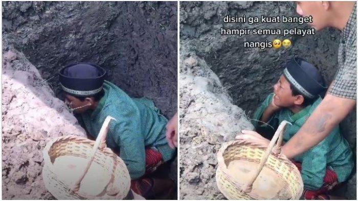 VIRAL Bocah Nangis di Liang Kubur Ayah: Dulu Bayi Diadzanin, Sekarang Gantian Wahyu Adzanin Bapak