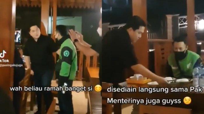 REZEKI! Driver Ojol Awalnya Hanya Minta Foto ke Erick Thohir, Malah Dilayani Makan Bapak Menteri