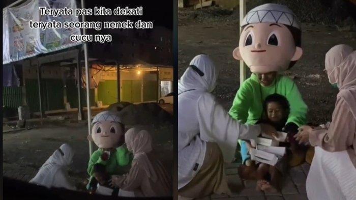 Viral cerita seorang nenek di Kalimantan Selatan yang mencari nafkah pakai kostum badut. (TikTok @yudihmakeup)