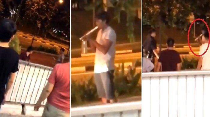 2 Orang Pemabuk Ini Berantem, yang Satu Main Suling di Depan Polisi, Satunya Lakukan Hal Konyol Ini