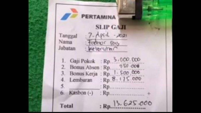 Viral foto rincian gaji petugas kebersihan Pertamina mencapai Rp13 juta.