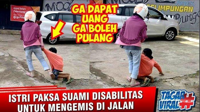 VIRAL VIDEO Pria Difabel Dianiaya Istri Sendiri, Diduga Tak Dapat Uang Ngemis & Hampir Dilempar Batu