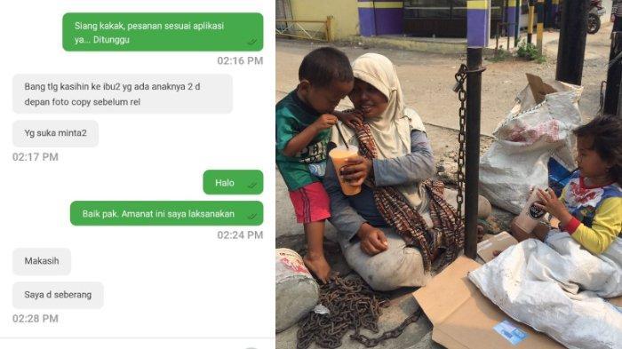 Viral - Tak Tega Lihat Pengemis & 2 Anaknya, Driver Ojol Orderkan Minuman, Aksinya Banjir Pujian