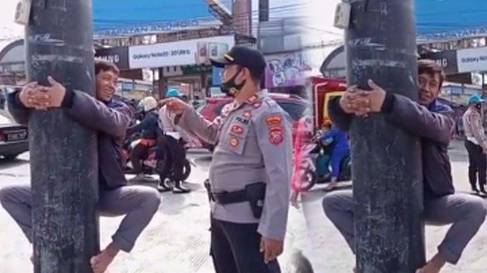 Viral tingkah pria saat diberi sanksi tak pakai masker bikin warga tertawa