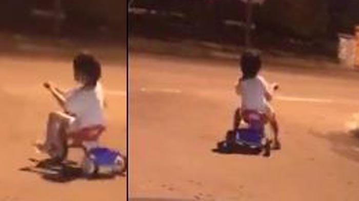 Seorang bocah bersepeda sendirian pukul 3 dini hari, sempat dikira hantu.