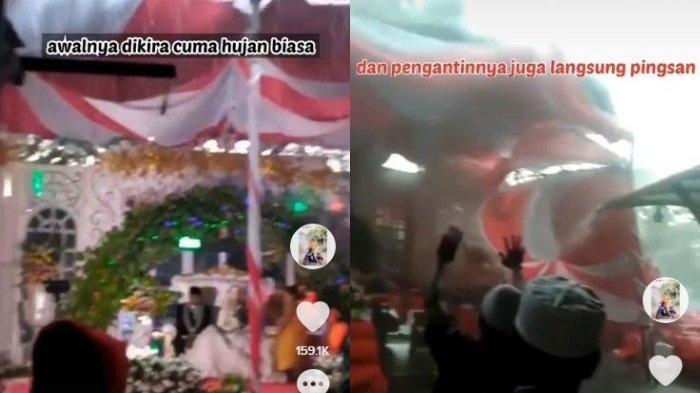 Viral video detik-detik tenda pernikahan roboh diterjang hujan deras disertai angin kencang