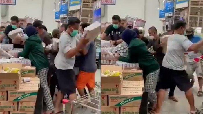 Viral video orang berebut borong susu beruang bear brand di supermarket.