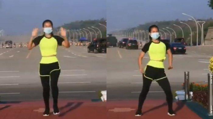 Viral video seorang wanita santai lakukan senam aerobik saat kudeta di Myanmar.