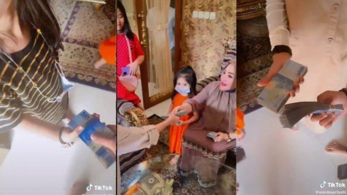 BUKAN Settingan Video Viral Wanita Bagi-bagi Segepok THR Benar Terjadi, Per Orang Dapat Rp 5 Juta