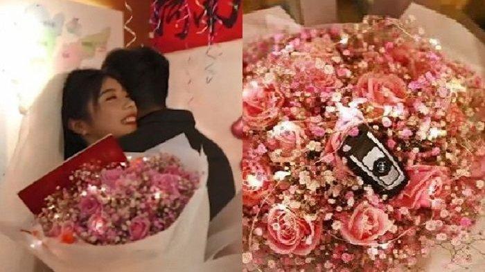 Gadis 24 Tahun Melamar Kekasihnya, Beri Buket Bunga, Kunci Mobil BMW, dan Akta Rumah