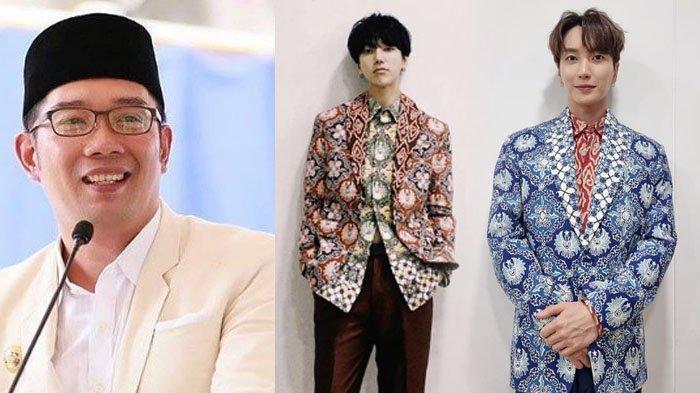 Bikin Bangga, Yesung dan Leeteuk Super Junior Pakai Batik Jawa Barat, Ridwan Kamil: Pergi Kondangan