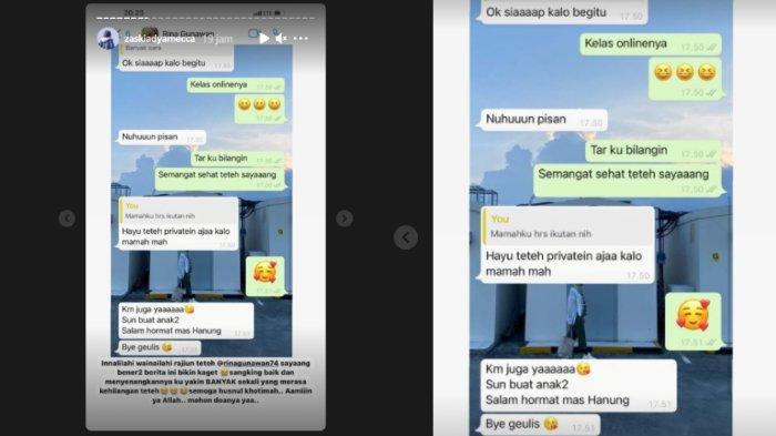 Zaskia Adya Mecca bagikan chat dengan mendiang Rina Gunawan