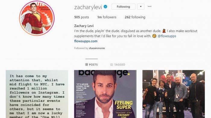 Akun instagram Zachary Levi