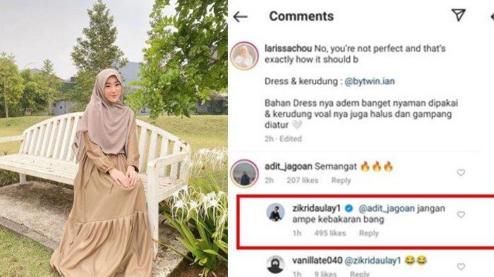 Zikri Daulay kepergok tinggalkan komentar di unggahan Larissa Chou.