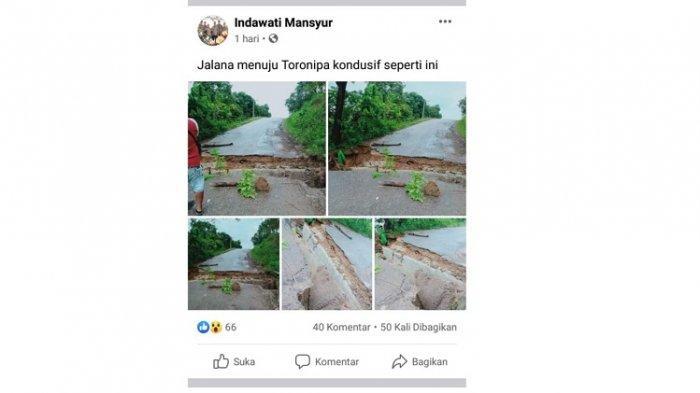 Viral di Facebook Jalan di Toronipa Konawe Terputus, Disebut Longsor Akibat Hujan