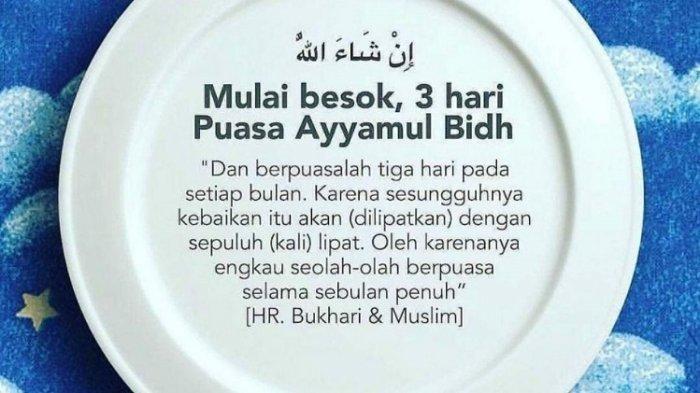 Puasa Ayyamul Bidh Bulan Syaban 1442 Hijriayah, Berikut Niat dan Keutamaannya