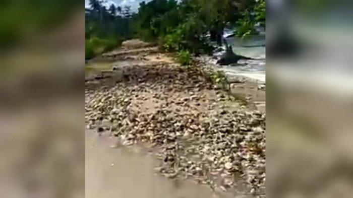 Hasil tangkapan layar, dari video pendek berdurasi 30 detik di unggah di Facebook yang kondisi kerusakan jalan penghubung Buton-Butur, tepatnya di Desa Waoleona, Kecamatan Lasalimu, Kabupaten Buton, Sultra.