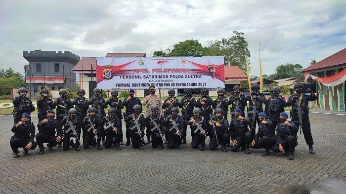 6 Pasukan Pengamanan Brimob Polda Sultra Tiba di Papua, Kawal Kontingen Softball Selama PON XX