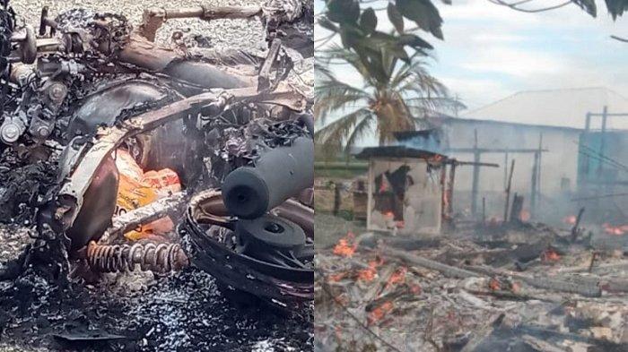 4 rumah, 8 motor dibakar, dan 2 motor dirusak massa sejumlah ratusan orang.