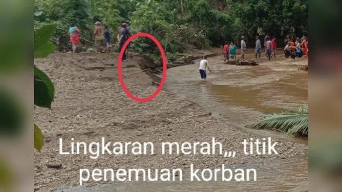 KORBAN BANJIR - Berhasil ditemukan korban banjir di Desa Mambo, Kecamatan Poleang Timur, Kabupaten Bombana, Sultra, Minggu (9/5/2021), sekira pukul 8.30 wita. Areson ditemukan tertimbun pasir di hilir sungai.