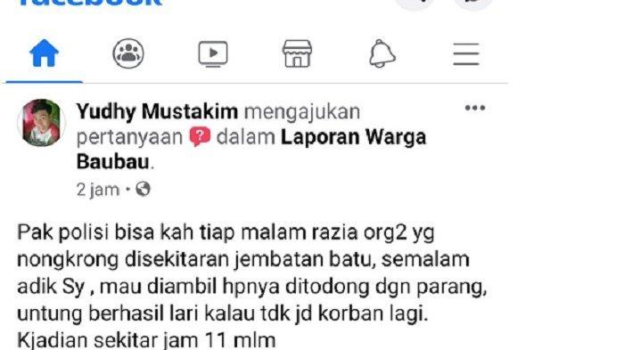 Netizen di Baubau Curhat di Medsos Ditodong Parang, Kapolsek Minta Laporkan ke Polisi