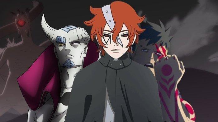 Karakter dalam anime Boruto: Naruto Next Generations - Isshiki Otsutsuki, Code, dan Kawaki.
